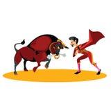 Matador, der mit einem Stier kämpft Stockbilder