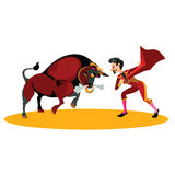Matador fighting with a bull. Spanish fighting bull.matador fighting with a bull Stock Images