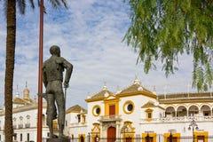 Matador's statue looking at plaza de totos La Maestranza Seville Royalty Free Stock Photography