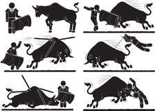 Matador. Spanish style bullfighting icon set Royalty Free Stock Photo