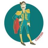 Matador. Vector Illustration. Corrida, matador with mustache Royalty Free Stock Photos