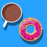 Mataffisch Annonsera med kaffe, Donuts Stock Illustrationer