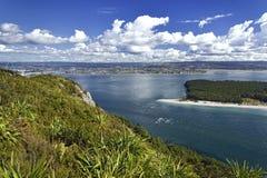 Matakana Island and entrance to harbor from Mount Maunganui Royalty Free Stock Photo
