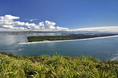 Matakana Island and entrance to harbor from Mount Maunganui. New Zealand Royalty Free Stock Images