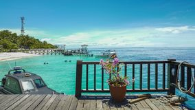 Mataking海岛看法  Mataking海岛是位于西里伯斯海的一个马来西亚海岛沙巴状态  免版税库存照片