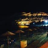 Matala τή νύχτα Στοκ Εικόνες