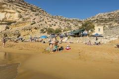 Matala, красный пляж Стоковая Фотография