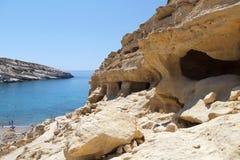 Matala洞,克利特,希腊。 免版税图库摄影