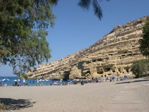 Matala beach. In Crete Royalty Free Stock Images