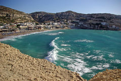 Matala beach. In Crete Greece Stock Photos