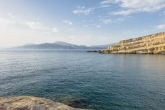 Matala Beach. Beach in the village Matala , Crete , Greece , Europe . At eveniing time Stock Images