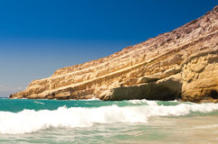 Matala beach. Crete. Greece. Royalty Free Stock Photos