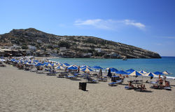 Matala beach in Crete, Greece Stock Photo