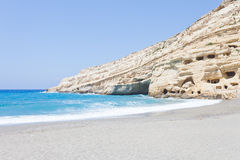 Matala Beach. Crete - Greece - Hippie Caves at Matala Beach Stock Images