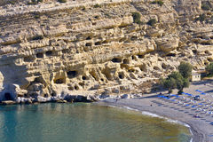 Matala beach at Crete island in Greece Royalty Free Stock Photography