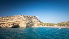 Matala beach on Crete island, Greece Royalty Free Stock Image