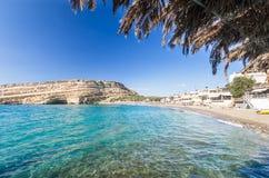 Matala beach on Crete island, Greece Royalty Free Stock Photos