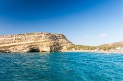 Matala beach on Crete island, Greece Stock Images