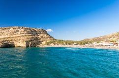 Matala beach on Crete island, Greece Stock Image