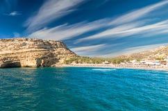 Matala beach on Crete island, Greece Royalty Free Stock Photography