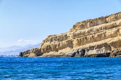 Matala beach on Crete island. Greece. View of Matala beach on Crete island. Greece Royalty Free Stock Photo