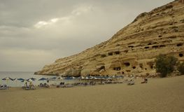 Matala. Beach near ancient tombs. Crete, Greece Stock Images