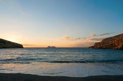 Matala beach. Sunset over Matala beach clif, Crete Stock Images