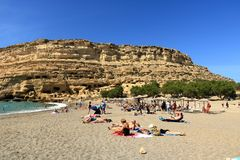 Matala beach with turquoise water, Crete, Greece. Matala beach with turquoise water, Crete in Greece stock photography