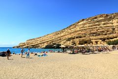 Matala beach with turquoise water, Crete, Greece. Matala beach with turquoise water, Crete in Greece royalty free stock images