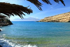 Matala beach with turquoise water, Crete, Greece. Matala beach with turquoise water, Crete in Greece royalty free stock image