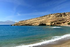 Matala beach with turquoise water, Crete, Greece. Matala beach with turquoise water, Crete in Greece stock photos