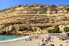 Matala beach with turquoise water, Crete, Greece. Matala beach with turquoise water, Crete in Greece stock photo