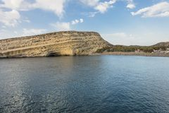 Matala Beach. Beach in the village Matala , Crete , Greece , Europe . At eveniing time Royalty Free Stock Images