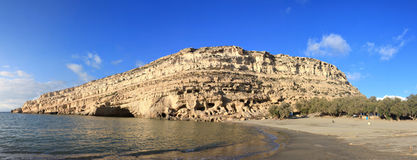 Matala cliffs afternoon panorama Stock Image