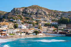 Matala. Crete, Greece. Beach and village in Matala. Crete island, Greece Royalty Free Stock Images