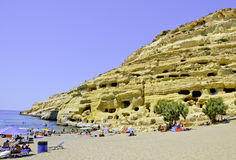 Matala holes in the rock. Hippie holes in the rock, Matala, Crete Stock Image