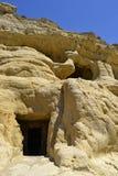Matala i grav i Grekland Arkivbilder
