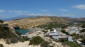 Matala. Overlooking the village of Matala. The mountain and caves are a popular destination for hippies in the 60s - 70s. The Island Of Crete, Greece Royalty Free Stock Images