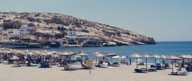 Matala plaża, Crete Grecja fotografia royalty free