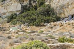Matala röd strand royaltyfria bilder
