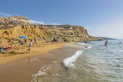 Matala , Red beach. Red Beach,  near Matala, Crete, Greece , Europe . Nudist and hippie beach Royalty Free Stock Photo