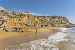 Matala , Red beach. Red Beach, near Matala, Crete, Greece , Europe . Nudist and hippie beach Royalty Free Stock Image