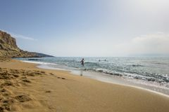 Matala , Red beach. Red Beach,  near Matala, Crete, Greece , Europe . Nudist and hippie beach Stock Images