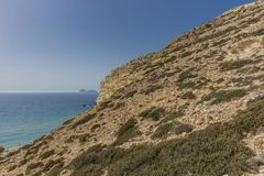 Matala , Red beach. Trail of the mountain on a nudist and hippie beach red beach near Matala, Crete, Greece , Europe Stock Photos