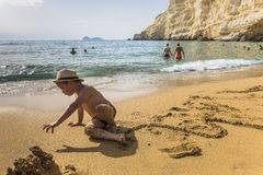 Matala, Rood strand Royalty-vrije Stock Afbeeldingen