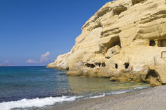 Matala sandstone hippy caves Stock Photos