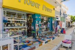 Matala street. Colorful street and restaurant in Matala village , Crete , Greece , Europe Royalty Free Stock Photo