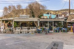 Matala street. Colorful street with  restaurants and taverns in Matala village , Crete , Greece , Europe Stock Image