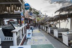 Matala street. Colorful street with restaurants and taverns in Matala village , Crete , Greece , Europe stock photo