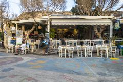 Matala street. Colorful street with  restaurants and taverns in Matala village , Crete , Greece , Europe Royalty Free Stock Photos